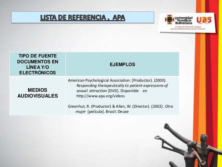 TIPO DE FUENTEDOCUMENTOS EN                                         EJEMPLOS   LÍNEA Y/O ELECTRÓNICOS                 Amer...