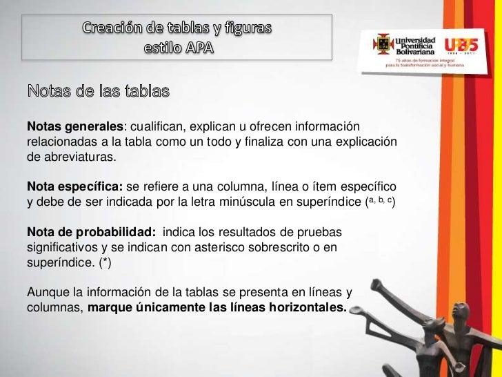 Notas generales: cualifican, explican u ofrecen informaciónrelacionadas a la tabla como un todo y finaliza con una explica...