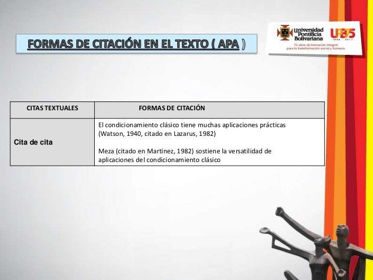 CITAS TEXTUALES                FORMAS DE CITACIÓN                     El condicionamiento clásico tiene muchas aplicacione...