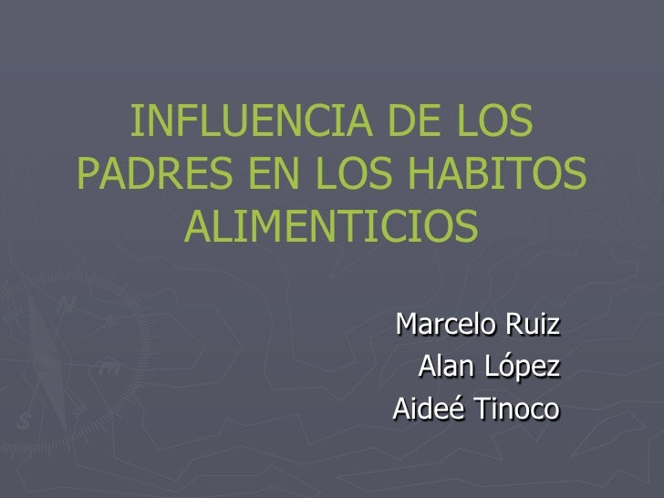 INFLUENCIA DE LOSPADRES EN LOS HABITOS    ALIMENTICIOS            Marcelo Ruiz              Alan López            Aideé Ti...