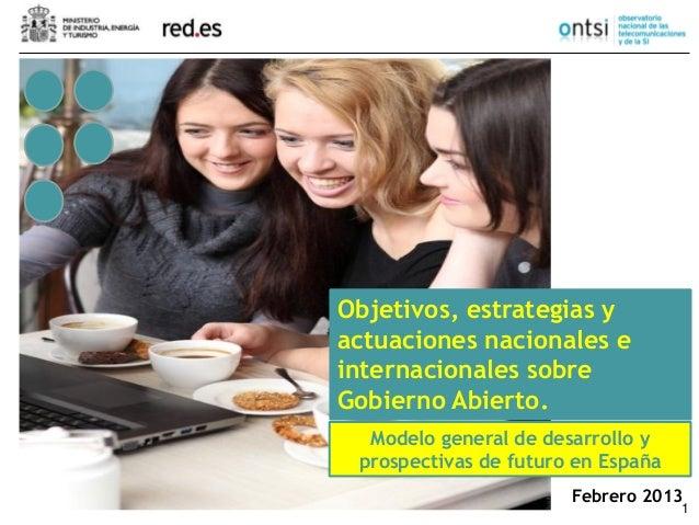 1 Febrero 2013 Objetivos, estrategias y actuaciones nacionales e internacionales sobre Gobierno Abierto. Modelo general de...