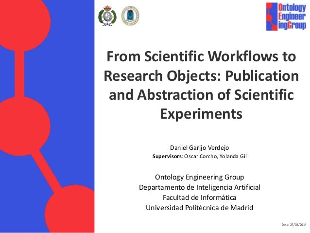From Scientific Workflows to Research Objects: Publication and Abstraction of Scientific Experiments Daniel Garijo Verdejo...