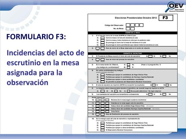 Elecciones Presidenciales Octubre 2012                                                F3                                  ...