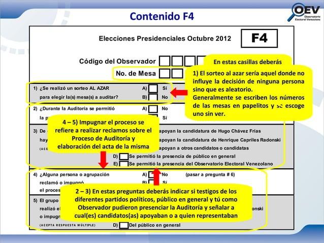 Contenido F4                                               Elecciones Presidenciales Octubre 2012                       F4...