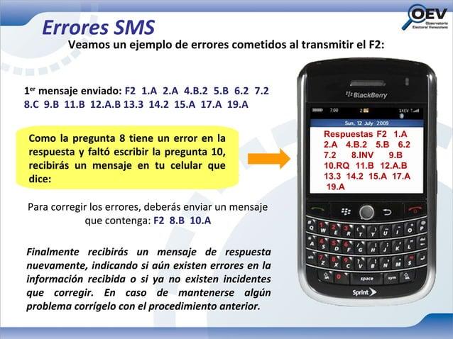 Errores SMS        Veamos un ejemplo de errores cometidos al transmitir el F2:1er mensaje enviado: F2 1.A 2.A 4.B.2 5.B 6....