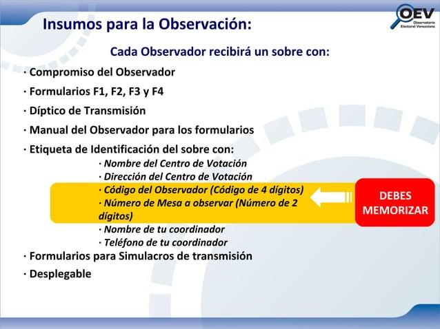 Insumos para la Observación:                 Cada Observador recibirá un sobre con:· Compromiso del Observador· Formulario...
