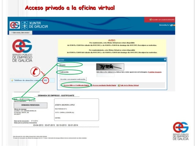 Funcionamiento de la oficina virtual del servizo p blico for Oficina virtual del