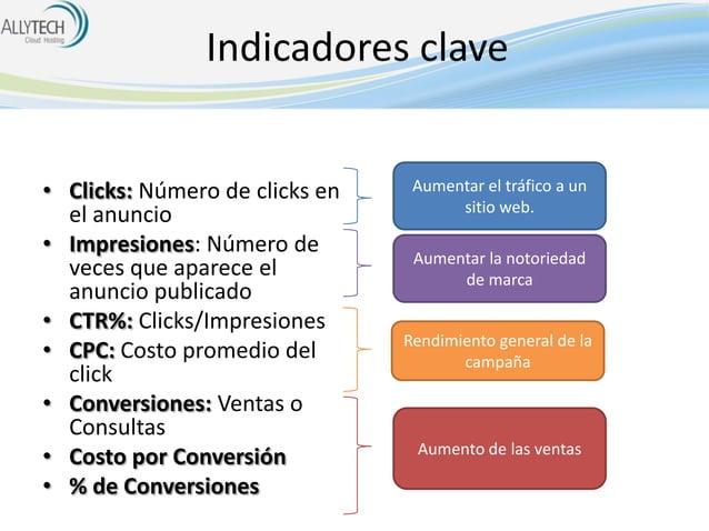 Indicadores clave • Clicks: Número de clicks en el anuncio • Impresiones: Número de veces que aparece el anuncio publicado...
