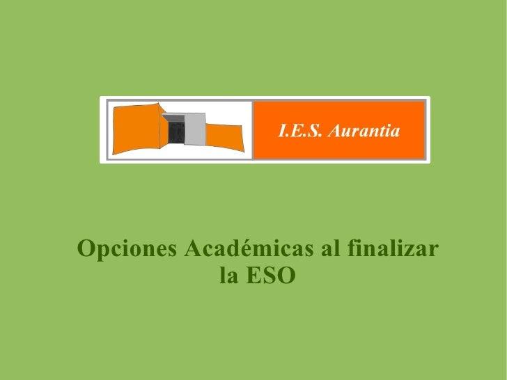 Opciones Académicas al finalizar la ESO