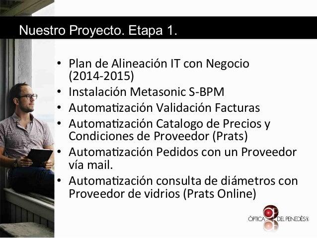 Nuestro Proyecto. Etapa 1. • Plan&de&Alineación&IT&con&Negocio& (2014d2015)& • Instalación&Metasonic&SdBPM&& • Automa6z...