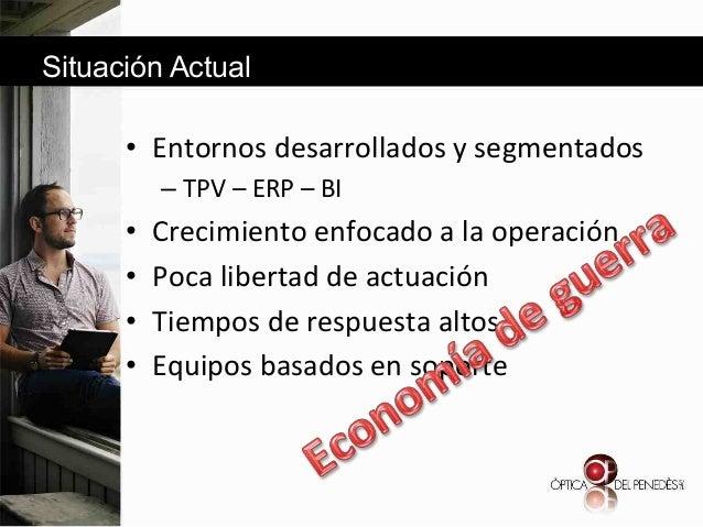 Situación Actual  • Entornos&desarrollados&y&segmentados& – TPV&–&ERP&–&BI&  • • • •  Crecimiento&enfocado&a&la&oper...