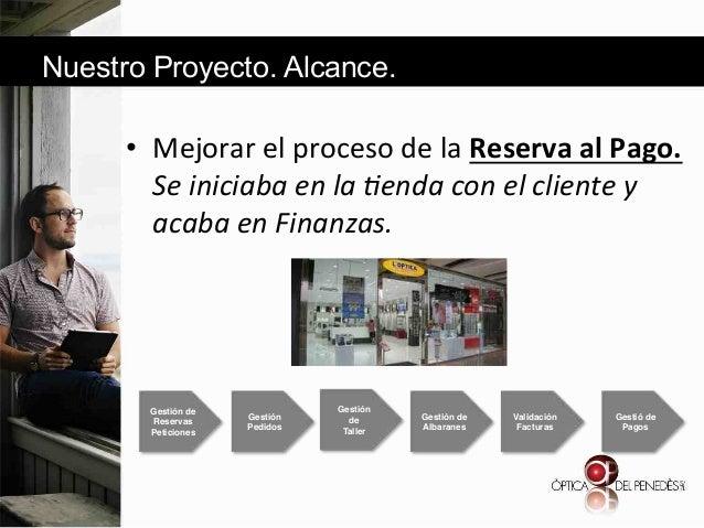 Nuestro Proyecto. Alcance.  • Mejorar&el&proceso&de&la&Reserva'al'Pago.' Se#iniciaba#en#la#*enda#con#el#cliente#y# acaba#...