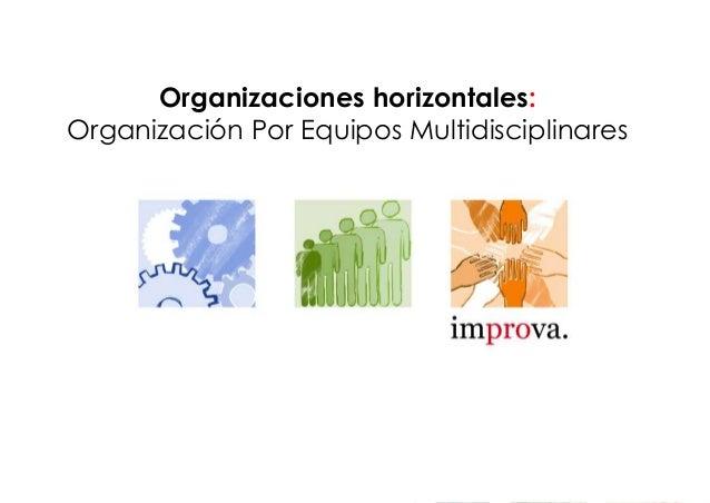 Organizaciones horizontales: Organización Por Equipos Multidisciplinares