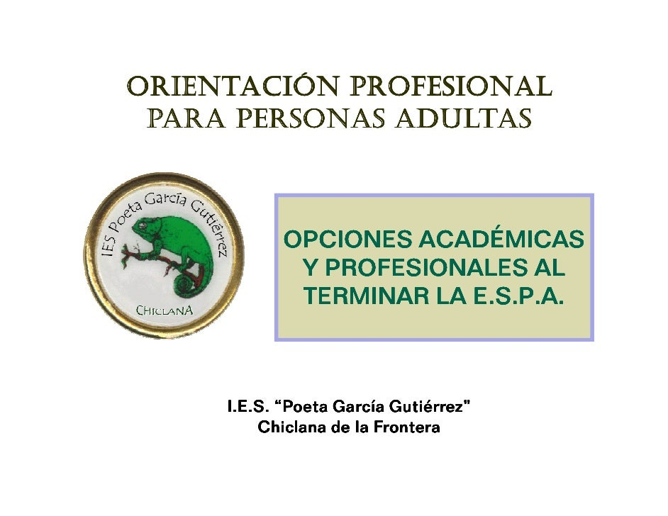 ORIENTACIÓN PROFESIONAL PARA PERSONAS ADULTAS            OPCIONES ACADÉMICAS             Y PROFESIONALES AL               ...
