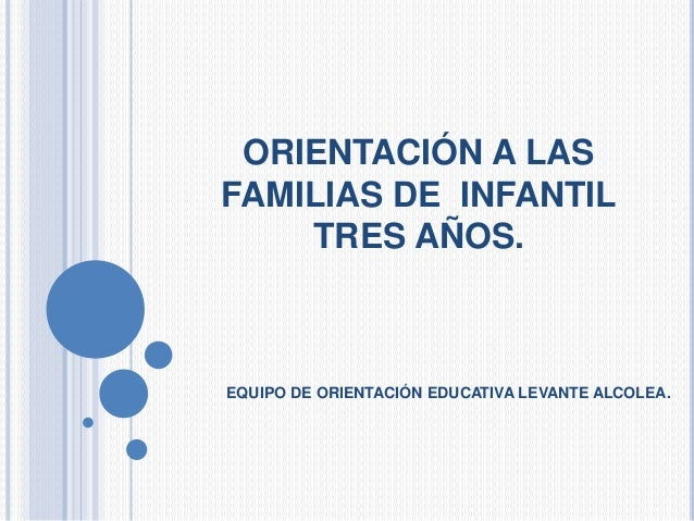 ORIENTACIÓN A LAS FAMILIAS DE INFANTIL TRES AÑOS. EQUIPO DE ORIENTACIÓN EDUCATIVA LEVANTE ALCOLEA.