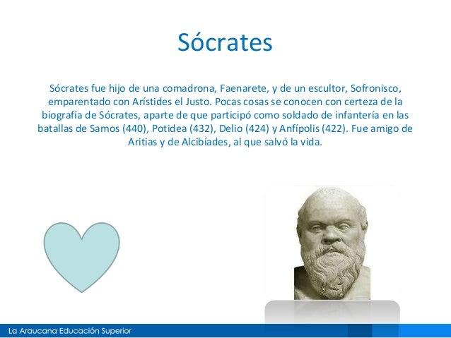 Sócrates Sócrates fue hijo de una comadrona, Faenarete, y de un escultor, Sofronisco, emparentado con Arístides el Justo. ...
