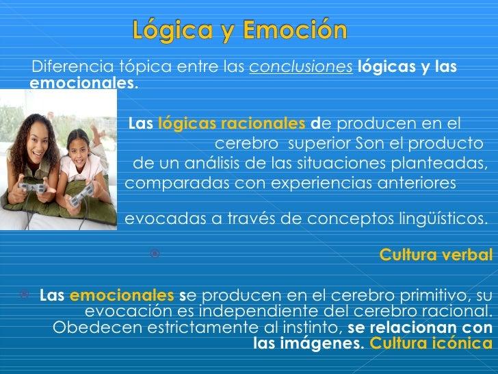 <ul><li>Diferencia tópica entre las  conclusiones   lógicas y las emocionales.  </li></ul><ul><li>Las  lógicas racionales ...