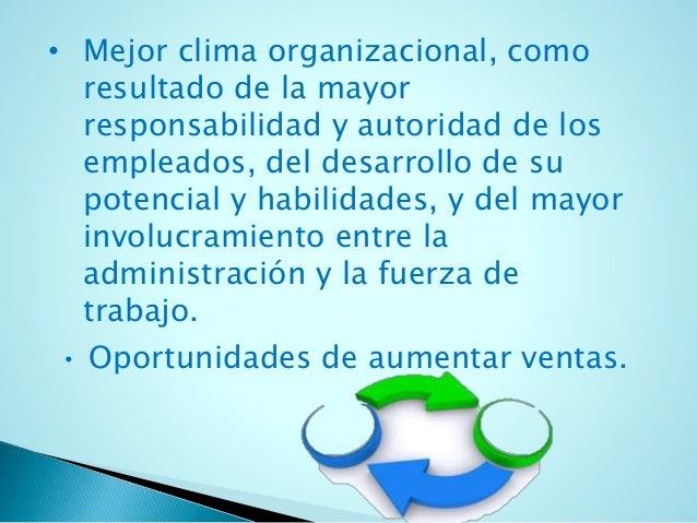 • Mejor clima organizacional, como  resultado de la mayor  responsabilidad y autoridad de los  empleados, del desarrollo d...