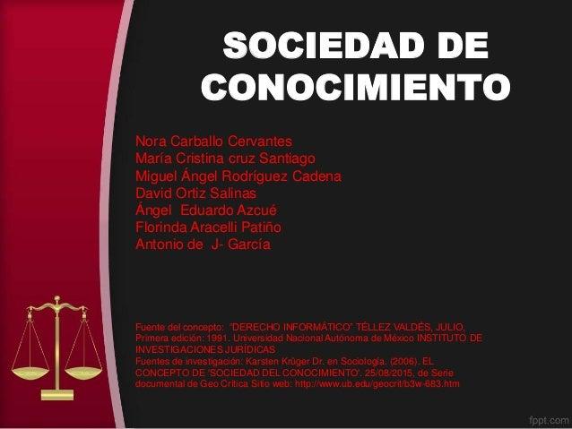 SOCIEDAD DE CONOCIMIENTO Nora Carballo Cervantes María Cristina cruz Santiago Miguel Ángel Rodríguez Cadena David Ortiz Sa...