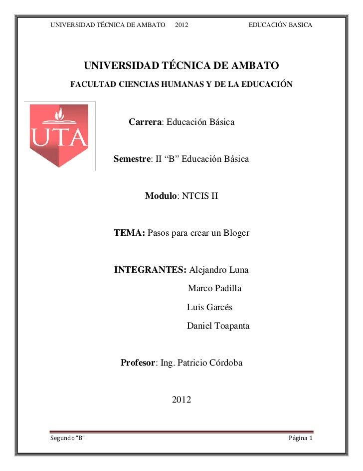 UNIVERSIDAD TÉCNICA DE AMBATO   2012               EDUCACIÓN BASICA          UNIVERSIDAD TÉCNICA DE AMBATO      FACULTAD C...