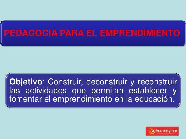 PEDAGOGIA PARA EL EMPRENDIMIENTO Objetivo: Construir, deconstruir y reconstruir las actividades que permitan establecer y ...