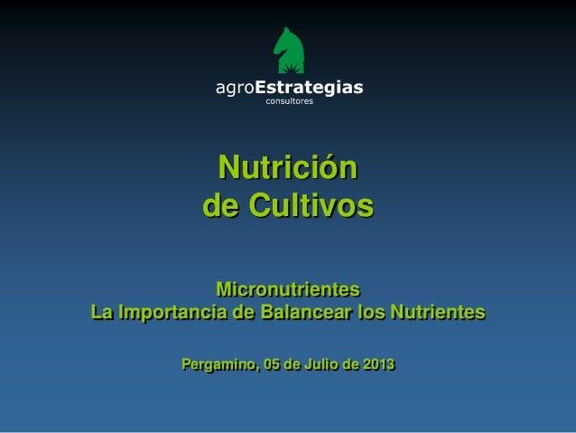 Nutrición de Cultivos Micronutrientes La Importancia de Balancear los Nutrientes Pergamino, 05 de Julio de 2013