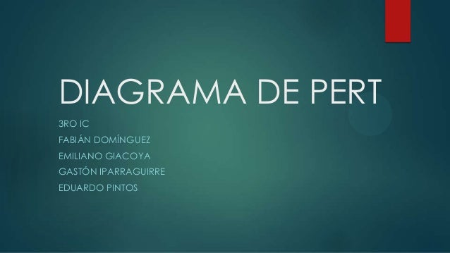 DIAGRAMA DE PERT 3RO IC FABIÁN DOMÍNGUEZ  EMILIANO GIACOYA GASTÓN IPARRAGUIRRE EDUARDO PINTOS