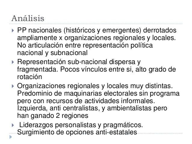 Análisis   PP nacionales (históricos y emergentes) derrotados  ampliamente x organizaciones regionales y locales.  No art...