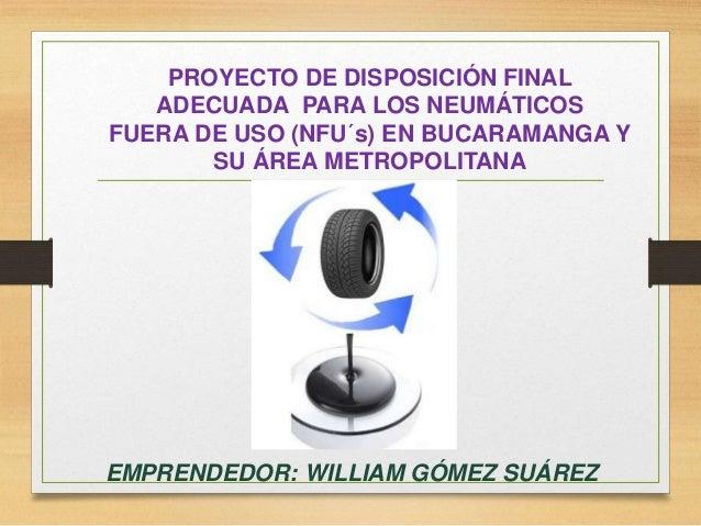 PROYECTO DE DISPOSICIÓN FINAL ADECUADA PARA LOS NEUMÁTICOS FUERA DE USO (NFU´s) EN BUCARAMANGA Y SU ÁREA METROPOLITANA EMP...