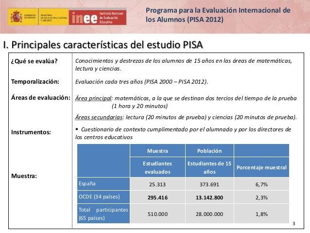 Programa para la Evaluación Internacional de los Alumnos (PISA 2012)  I. Principales características del estudio PISA ¿Qué...