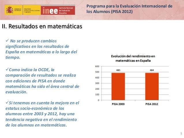 Programa para la Evaluación Internacional de los Alumnos (PISA 2012)  II. Resultados en matemáticas  No se producen cambi...