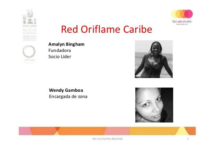 Red Oriflame CaribeAmalyn BinghamFundadoraSocio LíderWendy GamboaEncargada de zona                    Haz tus Sueños Reali...
