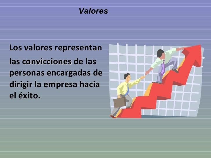 Valores <ul><li>Los valores representan </li></ul><ul><li>las  convicciones  de las personas encargadas de dirigir la empr...