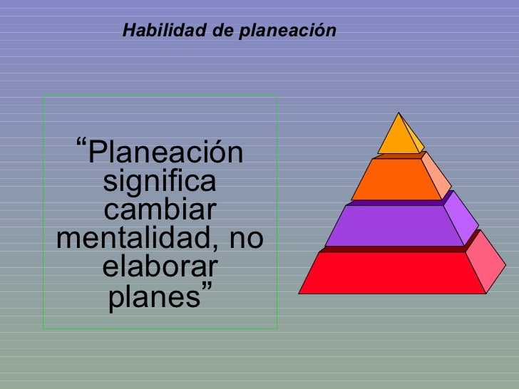 """"""" Planeación significa cambiar mentalidad, no elaborar planes """" Habilidad de planeación"""