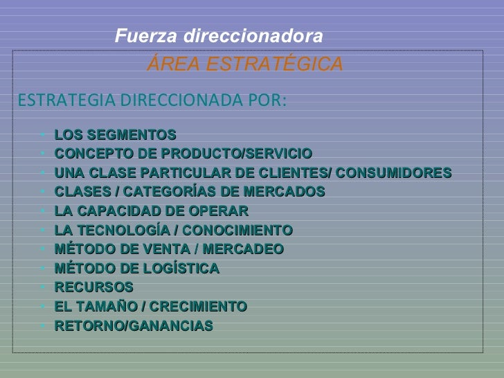 Fuerza direccionadora <ul><li>ÁREA ESTRATÉGICA   </li></ul><ul><li>ESTRATEGIA DIRECCIONADA POR: </li></ul><ul><ul><li>LOS ...