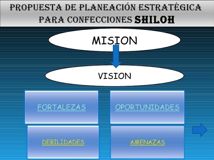MISION VISION Propuesta de planeación estratégica  para confecciones  SHILOH