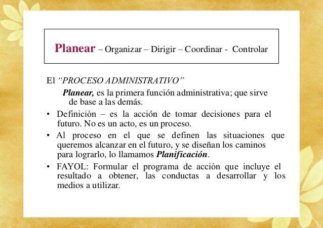 """Planear – Organizar – Dirigir – Coordinar - Controlar El """"PROCESO ADMINISTRATIVO"""" Planear, es la primera función administr..."""