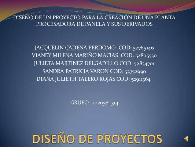 DISEÑO DE UN PROYECTO PARA LA CREACIÓN DE UNA PLANTAPROCESADORA DE PANELA Y SUS DERIVADOSJACQUELIN CADENA PERDOMO COD: 527...