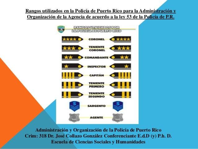 Rangos utilizados en la Policía de Puerto Rico para la Administración y Organización de la Agencia de acuerdo a la ley 53 ...