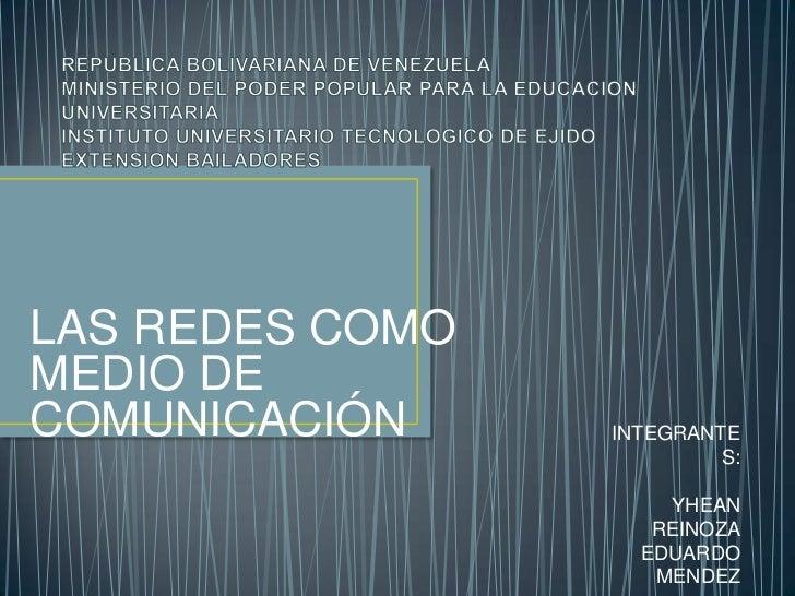 REPUBLICA BOLIVARIANA DE VENEZUELAMINISTERIO DEL PODER POPULAR PARA LA EDUCACION UNIVERSITARIAINSTITUTO UNIVERSITARIO TECN...