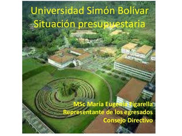 Universidad Simón BolívarSituación presupuestaria         MSc María Eugenia Figarella      Representante de los egresados ...