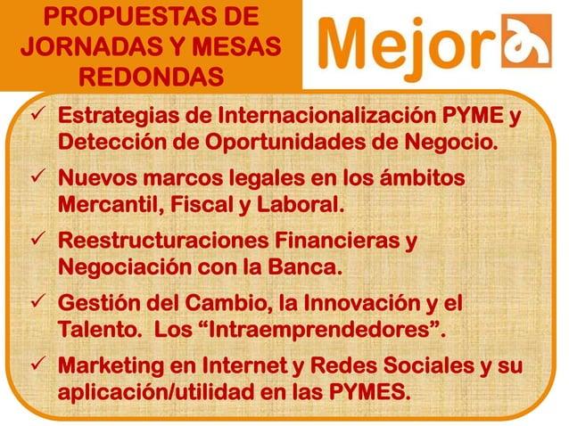 PROPUESTAS DE JORNADAS Y MESAS REDONDAS  Estrategias de Internacionalización PYME y Detección de Oportunidades de Negocio...