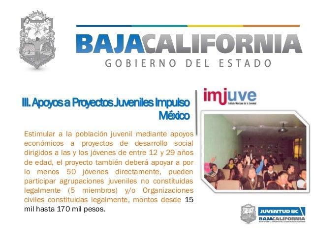 III.ApoyosaProyectosJuvenilesImpulso México Estimular a la población juvenil mediante apoyos económicos a proyectos de des...