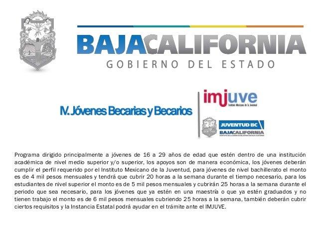 IV.JóvenesBecariasyBecarios Programa dirigido principalmente a jóvenes de 16 a 29 años de edad que estén dentro de una ins...