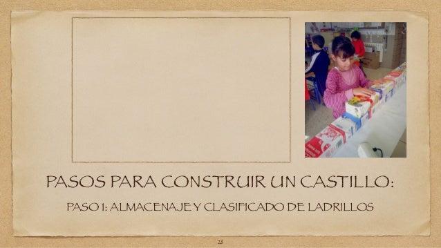 PASOS PARA CONSTRUIR UN CASTILLO:  PASO 1: ALMACENAJE Y CLASIFICADO DE LADRILLOS  28