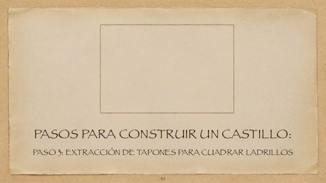 PASOS PARA CONSTRUIR UN CASTILLO:  PASO 3: EXTRACCIÓN DE TAPONES PARA CUADRAR LADRILLOS  30