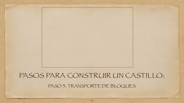 PASOS PARA CONSTRUIR UN CASTILLO:  PASO 5: TRANSPORTE DE BLOQUES  32