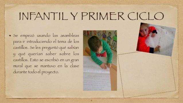 INFANTIL Y PRIMER CICLO  Se empezó usando las asambleas  para ir introduciendo el tema de los  castillos. Se les preguntó ...