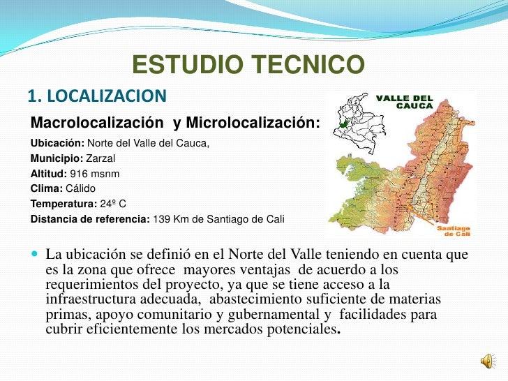 ESTUDIO TECNICO1. LOCALIZACIONMacrolocalización y Microlocalización:Ubicación: Norte del Valle del Cauca,Municipio: Zarzal...