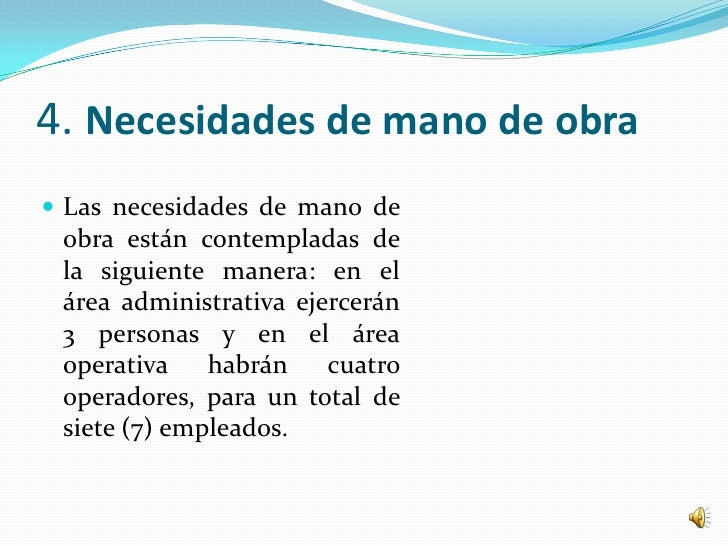 4. Necesidades de mano de obra Las necesidades de mano de obra están contempladas de la siguiente manera: en el área admi...